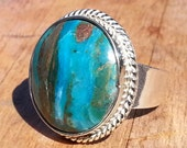 Peruvian Opal  Ring - Size 8 1/4 - Andean Blue Opal Ring
