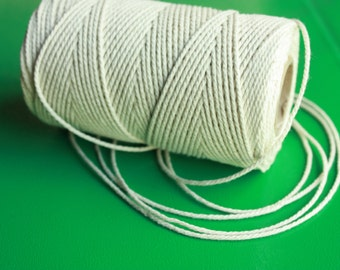 SALE 1,5 mm Cotton Yarn = 5 Spools = 550 Yards = 500 Meters Natural and Elegant COTTON Twisted CORD