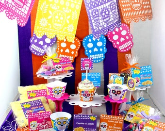 Day of the Dead Party Set, Halloween Birthday party, Sugar Skull Party, Sugar Skull Decorations   Printable   PERSONALIZED