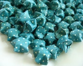 Dark Blue Green Lucky Stars Origami Lucky Star, Origami Stars, Handmade, Party Decoration