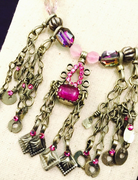 Vintage Kuchi Necklace with Irridescent Pink Glass gems, Swarovski Crystal and Wire Wrapped Glass Beads