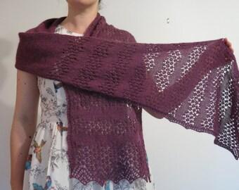 PATTERN Lace Shawl Knitting Pattern Pdf / Lace Scarf Knitting Pattern / Lacy Scarf Knitting Pattern