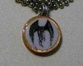 "Lucky Penny Pendant Mothman Charm on 24"" Chain Moth Man Real or Myth?"