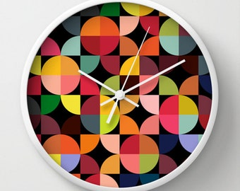 Circles Wall clock - Neon Multicolor Circles Retro Wall Clock - Bedroom Living Room Original Design - Home decor by Adidit