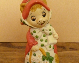 Vintage Ceramic Porcelain Lady Kitty Cat Bell - Christmas Bell by Jasco