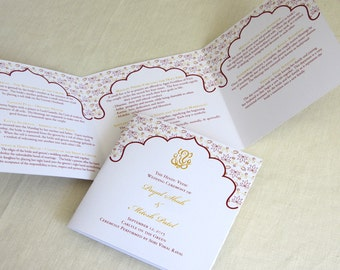 Ganesh Indian Wedding Program - Hindu Trifold - Folded Ceremony Program - SAMPLE