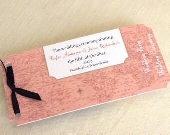 Travel Destination Wedding Programs - Vintage Map Booklet Ceremony Program - Petal Program Alternative - Custom Colors