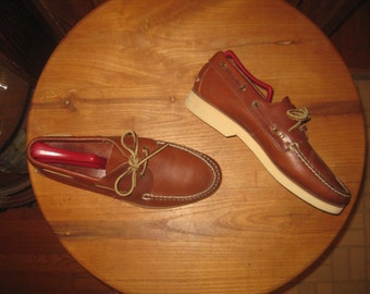 Hand Sewn   Mens  9 D    Leather on Rubber   Boat / Casual Shoes