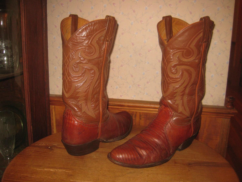 Tony Lama Lizard Amp Leather Cowboy Boots Style 8540