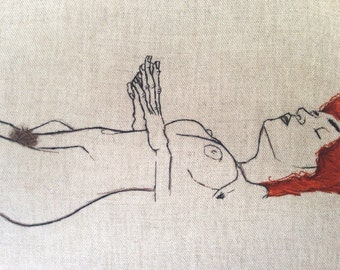 Egon Schiele Nude - Art Embroidery - Hand embroidered framed with Walnut Wooden Frame / Made to order