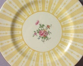 Antique 1910's Tiffany and Co Art Deco Plate, Crown Staffordshire Hand Painted pink roses plate, Yellow and white English bone china plate