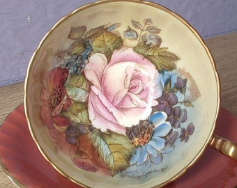 Vintage 1960's Orange tea cup and saucer, Aynsley JA Bailey tea cup, Hand painted tea cup, English bone china tea cup, Pink rose tea cup