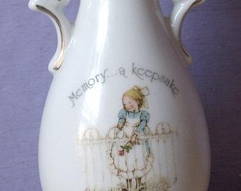 Vintage 1970's Holly Hobbie bud vase, Memory A Keepsake of the Heart Forever, 1974, retro Girl's bedroom decor, Farmhouse Country girl