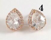 8% OFF Set of 4 Pairs Rose Gold Earrings - Cubic Zirconia Pink Gold Teardrop Stud Earrings Bridesmaids Gift Set