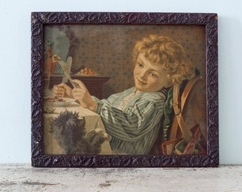 Collectible Antique Victorian 1873 Framed Lithograph by Sophie Gengembre Anderson - Paris