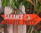 CUSTOM SIGN IDEA Cleveland Browns-Tailgate Party Custom Directional Arrow-Wooden Football Tailgate Party Sign