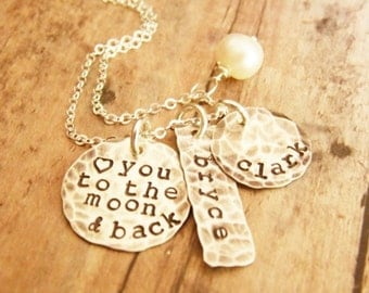 Love You to the Moon and Back Stamped Sterling Silver Distressed Tag and Disc, Mother Necklace, Two Names