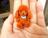 Mini Red Poodle - Crochet Miniature Dog Stuffed Animals - Made To Order