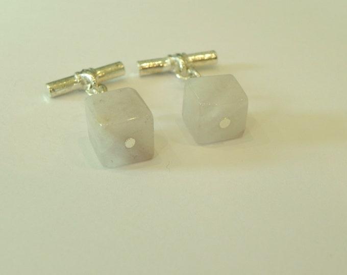 Chainlink gemstone cufflinks with lavender amethyst cubes