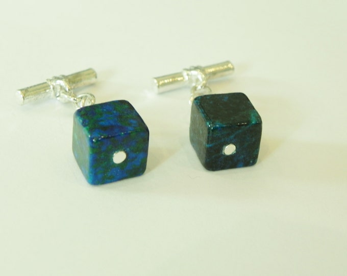 Chrysocolla green/blue gemstone silver plated cufflinks|turquoise cufflinks|green and blue|unique patterns|green/blue cufflinks