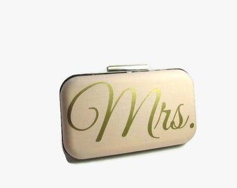 Gold Clutch   Mrs clutch  ivory clutch Wedding Clutch  Mrs Gold   Bridal Gift  Bridal clutch  Blush clutch  Wedding Clutch  gold ivory Mrs