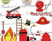 Little Firefighter Digital Clipart, fireman clipart 300 dpi printable clipart small business use