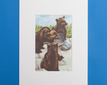 Bear Cubs at the Zoo - Print from a Vintage Ladybird Book