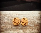 Wood Texas State Small Stud Earrings