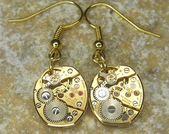 Steampunk Earrings - Vintage GOLD BULOVA Watch Movements - Torch SOLDERED - Wedding, Anniversary Gift - Beautifully Bright Pair