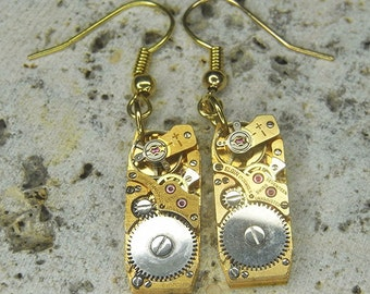 STEAMPUNK Earrings - Vintage Gold ART DECO Shape Watch Movements - Beautiful Contrasting Silver And Gold - Ultra Elegant