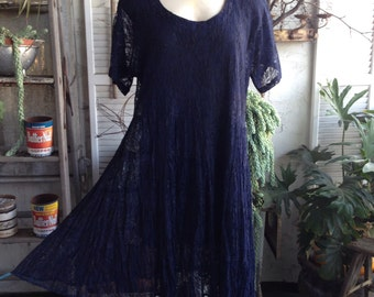 Vintage 80' navy lace babydoll mini dress M. Hippie boho