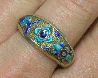 Antique Chinese Ring. Silver Vermeil. Blue & Turquoise Enamel Floral Motif. Unisex, Men. Size 7 1/4