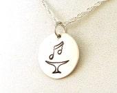 Sixteenth Note UU Chalice - Sterling Silver Unitarian Universalist Music Note Chalice