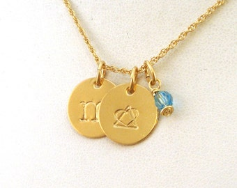 Gold Gotcha Day Gift - Letter and Birthstone Necklace with Adoption Symbol - Gold Jewelry
