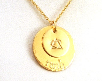 Gold Adoption Symbol Personalized Necklace - Two Disk Layered Necklace - 14k Gold Filled Name Necklace
