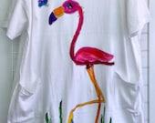 Flamingo Hand Painted Plus-size CoverUp or Sleepshirt