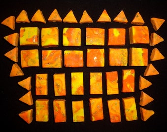 Lot of 46 Marbled Orange and Yellow Polymer Clay Beads