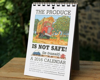 SALE! 2016 Calendar: The Produce is Not Safe - an illustrated calendar with bunny rabbits