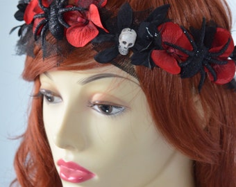 READY TO SHIP, Red and Black Halloween Headband, Goth Headband, Flower Skull headband, headpiece, Spider and Skull headband, Costume, Red