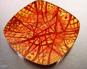 Mid Century Copper Enamel Plate or Tray; Signed
