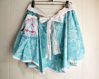 Retro apron/ aqua apron/ cottage chic apron/ embroidered apron/ half apron