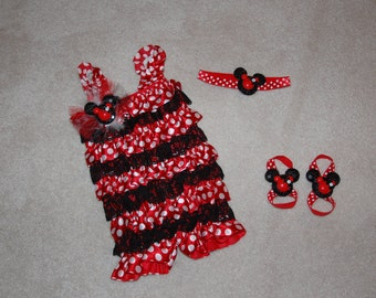 3 Piece Minnie Mouse Inspired Petti Romper Set
