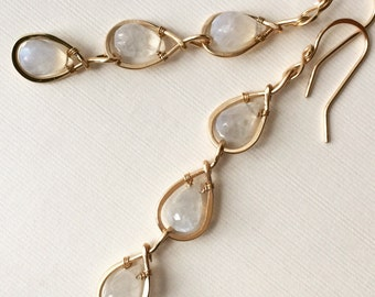 Gold-filled hammered earrings with beautiful bezel set moonstone beads - wire wrapped dangle earrings