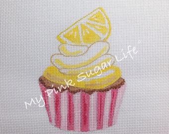 Hand Painted Lemon Cupcake Needlepoint Canvas