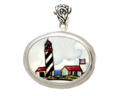 Broken China Jewelry Lighthouse with Flag Horizontal Oval Sterling Pendant