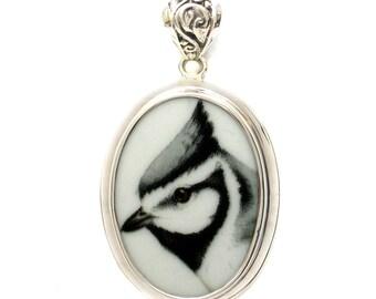 Broken China Jewelry Blue Jay Bird Sterling Oval Pendant