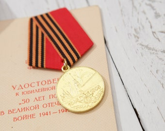 "WWII  Jubilee Medal ""50 Years of Victory in the Great Patriotic War 1941–1945"" with DOC"