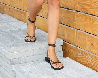 Double Ankle Strap Leather Sandals, Strappy Sandals, Flat Leather Sandals, Boho Shoes, Flip Flop - SUNSHINE Imprints