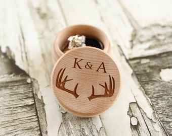 Buck Antler Ring Box with Initials and Rustic Wood Ring Box Keepsake Ring Box Camo Wedding Ring Box