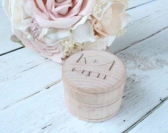 Ring Box Rustic Wedding Ring Box Wedding Ring Holder Ring Box With Initials